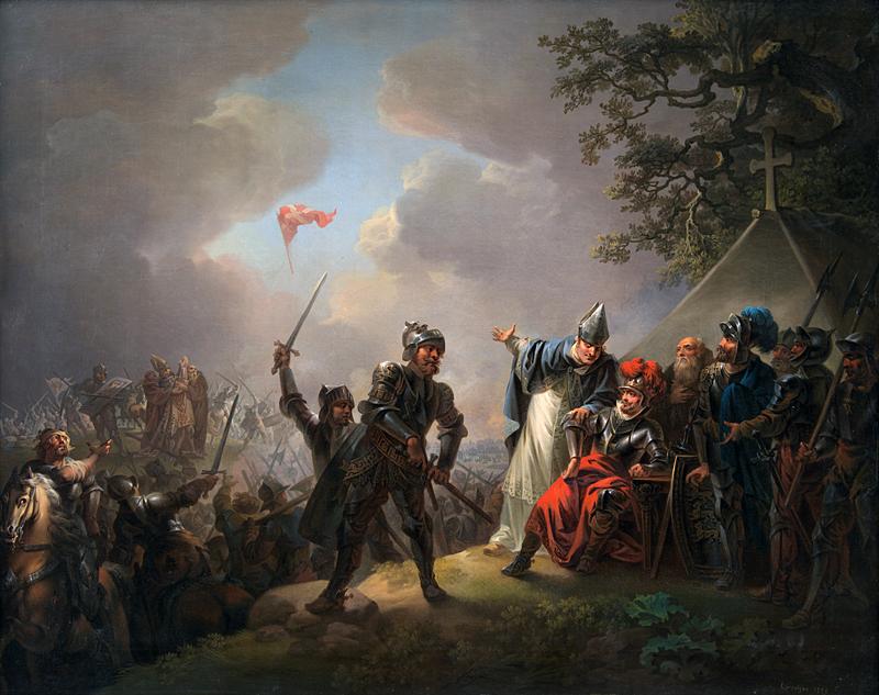 C.A. Lorentzen. Taani rahvuslipu legend. Dannebrog langeb taevast Lindanise lahingu ajal 1219 aastal.